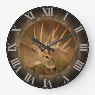 Large Round White Tail Buck Clock