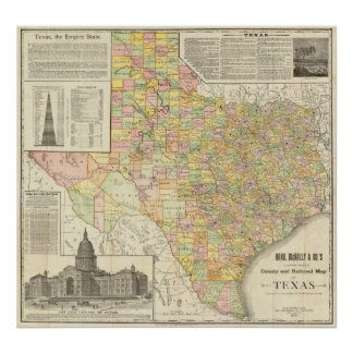 Large Scale County and Railroad Map Of Texas Poster