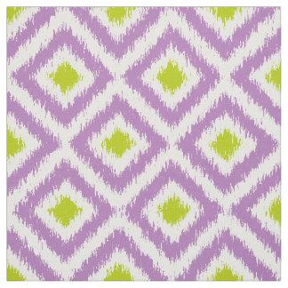 Large Scale Purple Green Ikat Diamonds Pattern Fabric