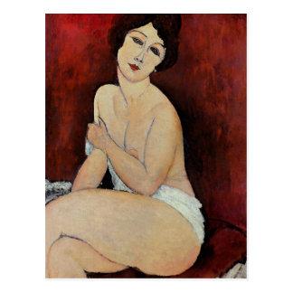 Large Seated Nude (oil on canvas) Postcard