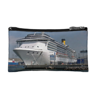 Large ship satcked in port cosmetic bags