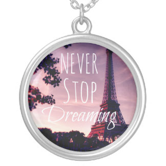 Large Silver PARIS  NEVER STOP DREAMING Silver Plated Necklace