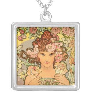 Large Silver Plated Art Nouveau Necklace