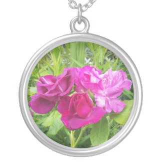 Large Silver Plated Necklace with floral image
