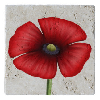 Large Single Stem Red Poppy Stone Trivet