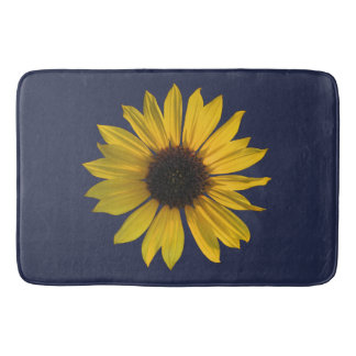 Large Single Sunflower on Blue Bath Mat