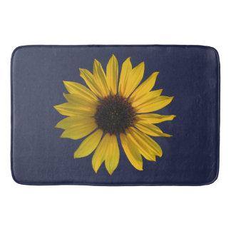 Large Single Sunflower on Blue Bath Mats