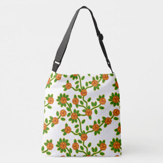 Large-Sized Tote Bag Floral #1 White