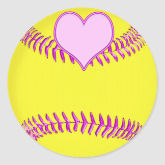 Large Softball Stickers with Pink Heart Threads