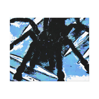 Large spider on metal surface canvas print