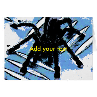 Large spider on metal surface card
