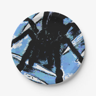 Large spider on metal surface paper plate