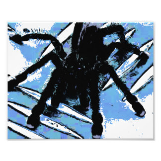 Large spider on metal surface photo print