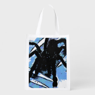 Large spider on metal surface reusable grocery bag