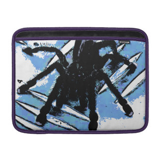 Large spider on metal surface sleeve for MacBook air