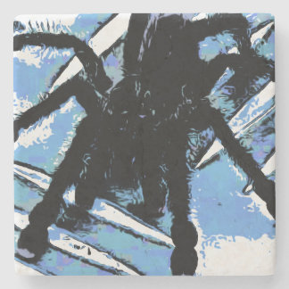 Large spider on metal surface stone coaster