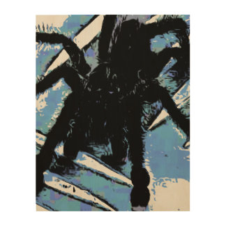 Large spider on metal surface wood wall art