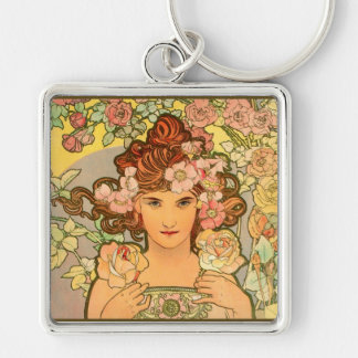 Large Square Art Nouveau Keychain