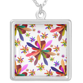 Large Square Necklace with Stylized Flower 1