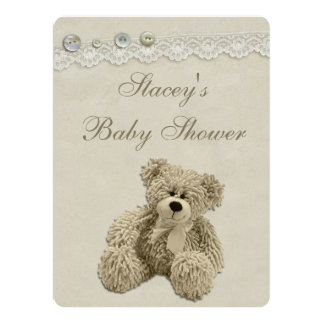 Large Teddy Bear Vintage Lace Baby Shower 17 Cm X 22 Cm Invitation Card