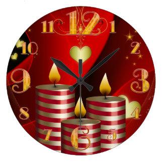 Large Three Christmas Candles Clock