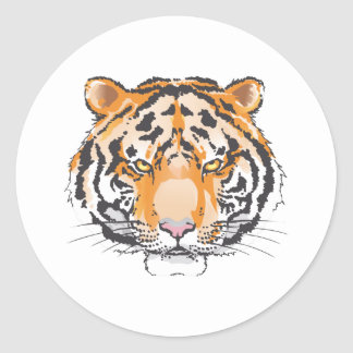 Large Tiger Head Round Sticker