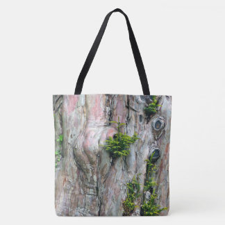 LARGE TOTE BAG/TREE TRUNK WITH KNOT-HOLES & MOSS