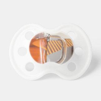 Large transparent glass mug with tea close up dummy