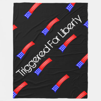 Large Triggered For Liberty blanket- black Fleece Blanket