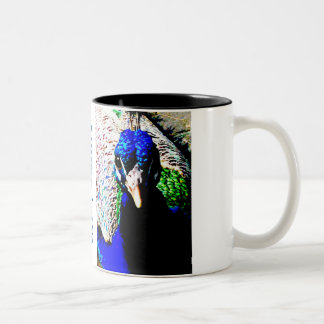 Large two-tone coffee mug. Peacock, custom Two-Tone Mug