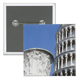 Large urn next to Leaning Tower of Pisa, Italy 15 Cm Square Badge