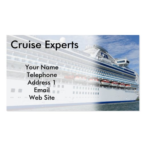 Large Vacation Cruise Ship Business Card Templates