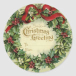 Large Victorian Christmas Name Tags for Gifts Round Stickers