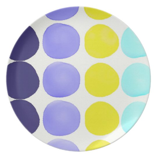 Large watercolor dots plate