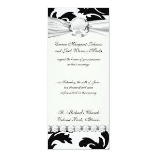 large white and black bold damask 10 cm x 24 cm invitation card