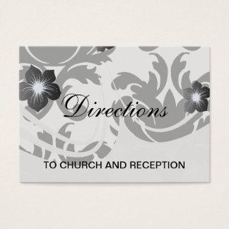 large white and black bold damask business card