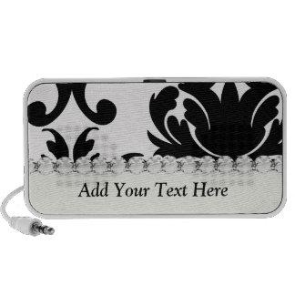 large white and black bold damask design portable speaker