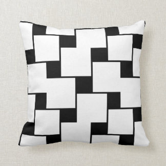 Large White and Small Black Squares Throw Pillow