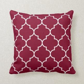 Large White on Burgundy Background Quatrefoil Cushion