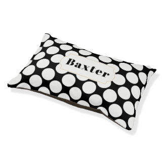 Large White Polka Dot Pattern on Custom Color Name Pet Bed