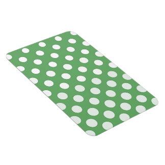 Large white polka dots on lime green rectangular photo magnet