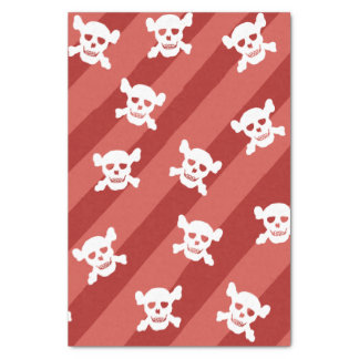 Large White Skull and Crossbones on Red Stripes Tissue Paper