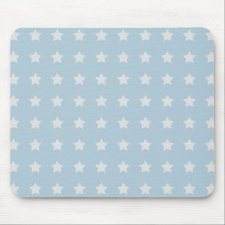 Large White Stars on Powder Blue Background Mouse Pad
