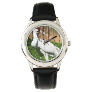 Large Whooping Crane Wrist Watches