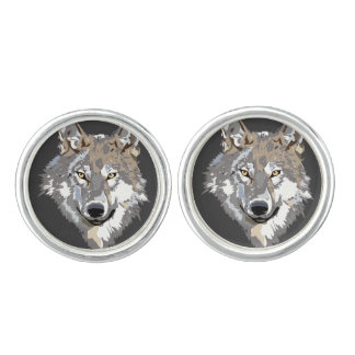 Large Wolf Face Cuff Links