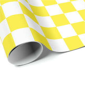 Large Yellow and White Checks Wrapping Paper