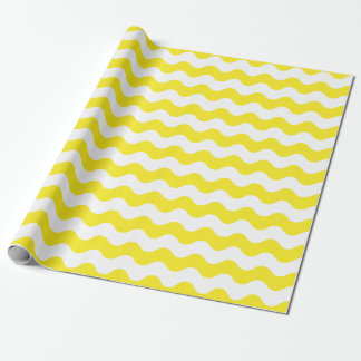Large Yellow and White Waves Wrapping Paper