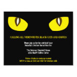 Large yellow cat eyes stare black Halloween party Invites