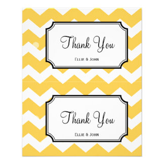 Large yellow chevron diy wedding gift bag hang tag personalized flyer