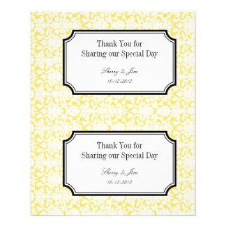 Large yellow damask diy wedding gift bag hang tag custom flyer